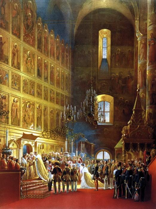Миропомазание государя императора Александра II во время его коронования в Успенском соборе.