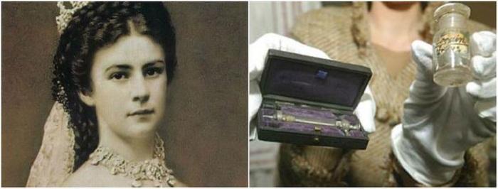Австрийская императрица Елизавета I и ее личный шприц для кокаина.