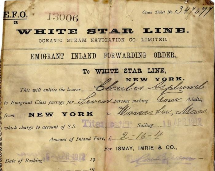 Пассажирский билет на Титаник. Апрель 1912 года.