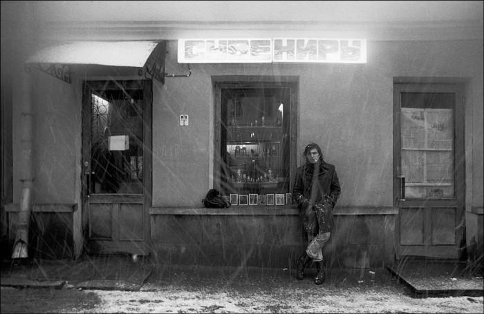 Снегопад на Арбате в 1984 году.