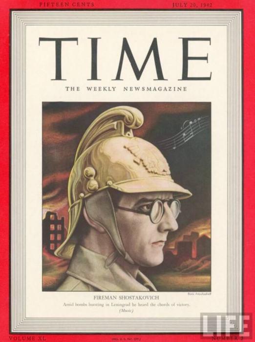 Дмитрий Шостакович на обложке Time в 1942 году.