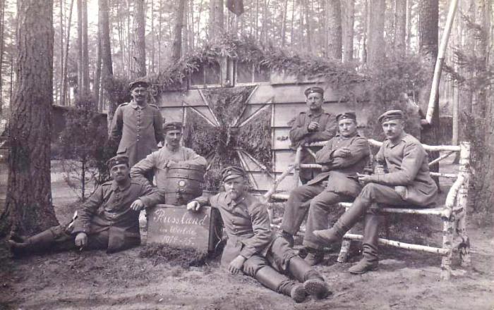 Партизаны в лесу на Восточном фронте в 1915 году.