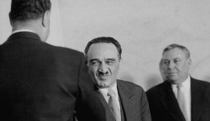 Первый заместитель Председателя Совета Министров СССР Анастас Микоян на приеме по случаю приезда Насера. СССР, Москва, 1958 год.