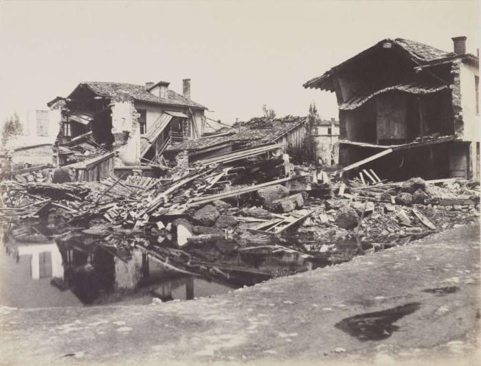 Наводнение в 1856 году в районе Brotteaux в Лионе.