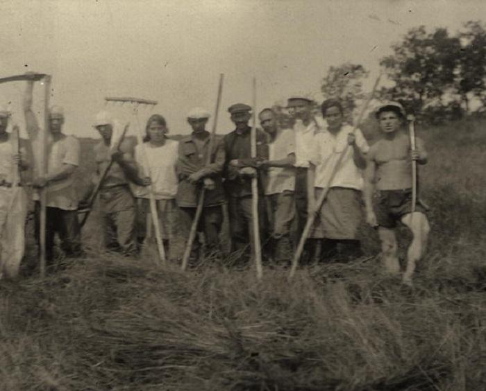 На сенокосе. Вблизи реки Тунгуск. СССР, 1930 год.