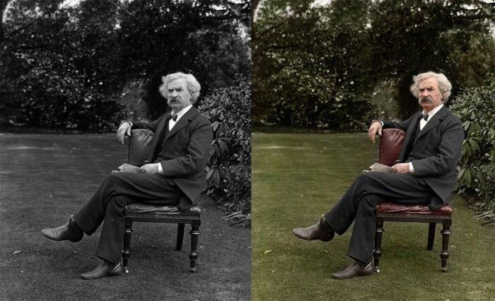 Марк Твен в саду в 1900 году.