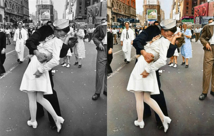 В День Победы над Японией на Таймс-сквер 14 августа 1945 года. Фотограф: Альфред Эйзенштадт.