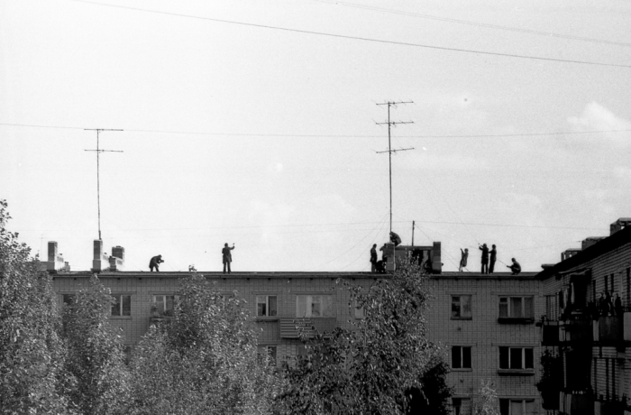 Монтаж новых антенн на улице Пионерская. СССР, Ярославль, 1970-е годы.