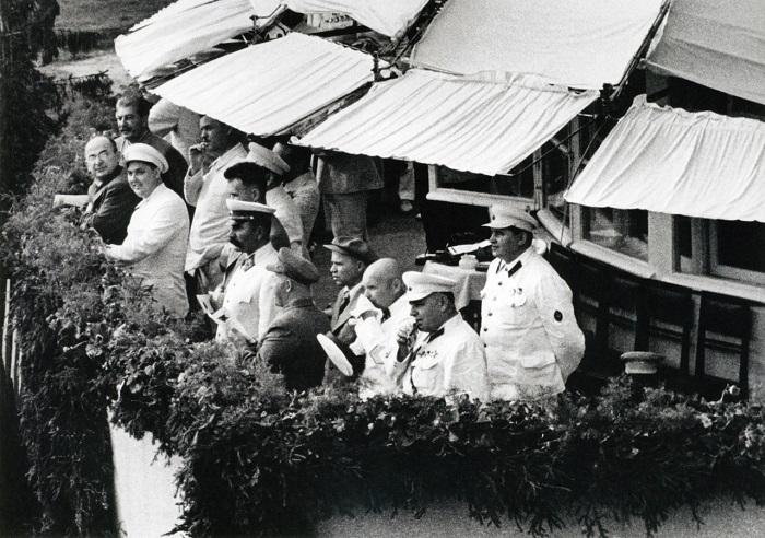 Иосиф Виссарионович Сталин, Лаврентий Берия, Георгий Маленков. Тушино, 1940 год.