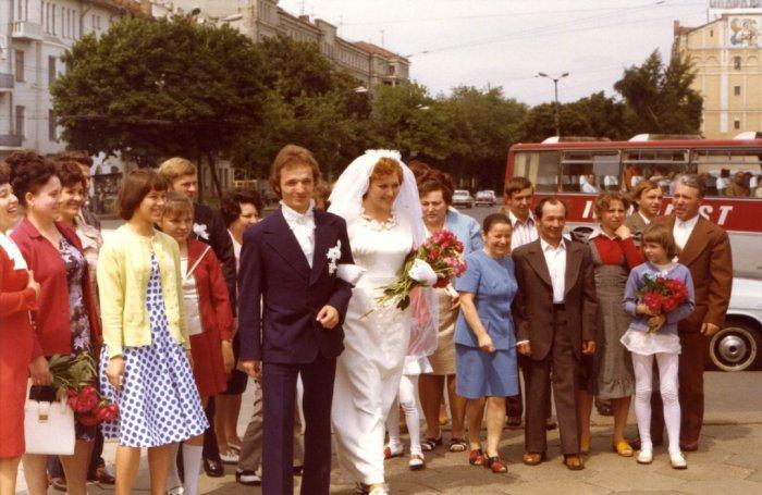 Фотография перед свадебной церемонией. СССР, Киев, 1977 год.