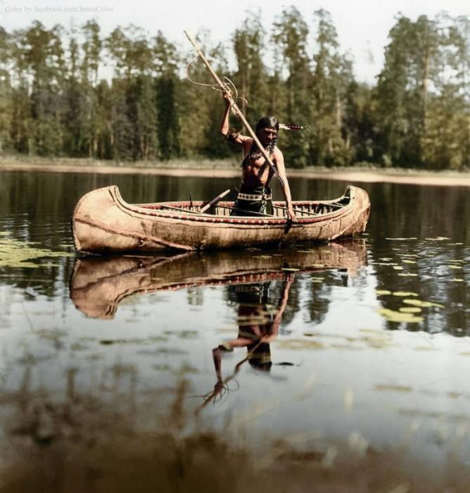 Коренной житель Америки на рыбалке. Америка, Миннесота, 1908 год.