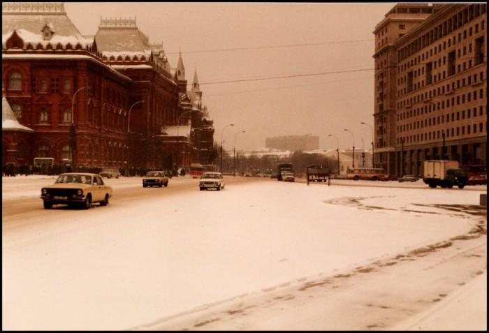 Московский проспект Маркса, названный в честь Карла Маркса. СССР, Москва, 1985 год.
