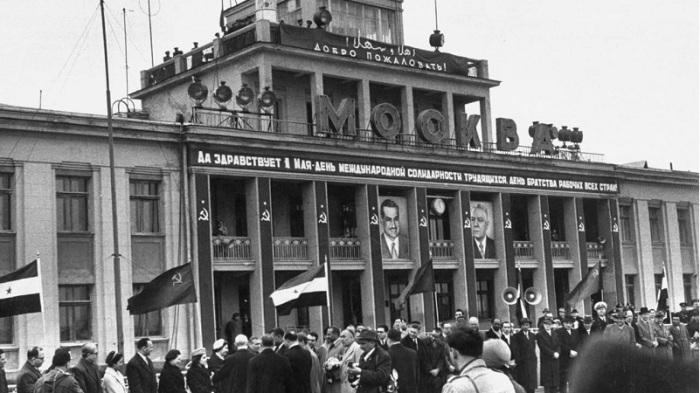 Московский аэропорт во время визита Гамаля Абдель Насера. СССР, Москва, 1958 год.