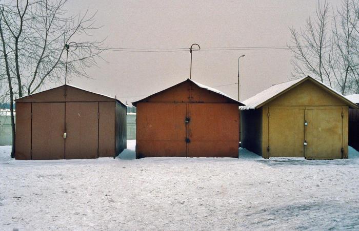 Автомобильные гаражи. СССР, Москва, 1984 год.