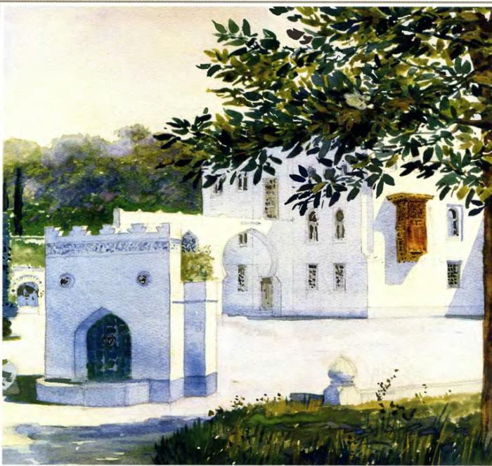 Фрагмент фасада дворца Дюльбер с видом на парк, Великого князя Петра Николаевича.Автор картины: Nikolai Petrovich Krasnov.
