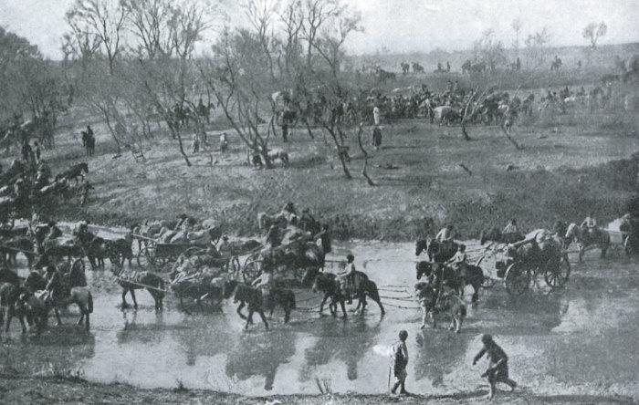Отступление русской армии после сражения под Мукденом в 1905 году.