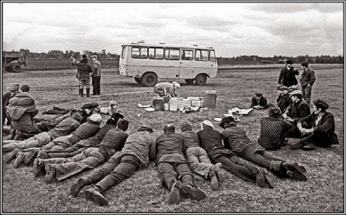 Трактористы лежат в ожидании обеда. СССР, 1970-е годы.