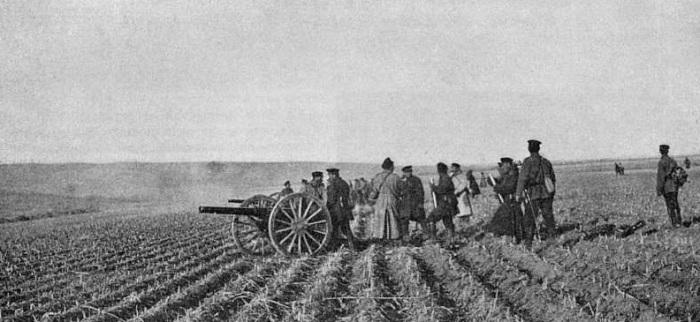 Русская батарея на позиции во время сражения под Мукденом в 1905 году.