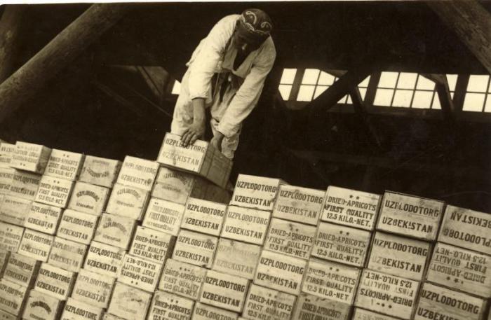 Отгрузка партии фруктов на территорию СССР. 1934 год. Фото: Max Penson.
