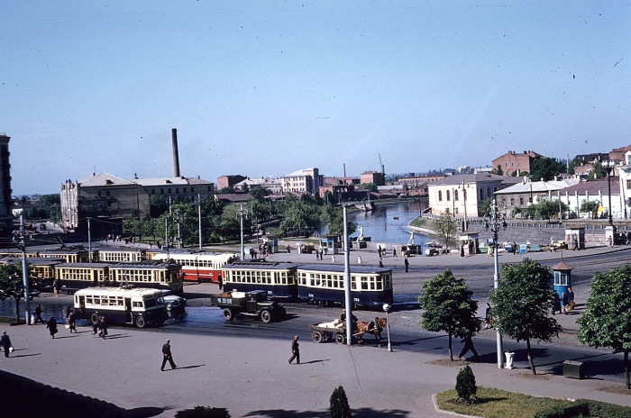 Центральная трамвайная развилка. СССР, Харьков, 1959 год.