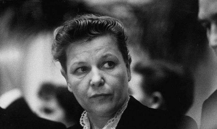 Екатерина Алексеевна Фурцева на приеме по случаю приезда Насера. СССР, Москва, 1958 год.