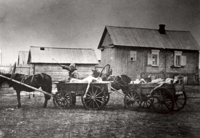 Вывоз погибших от голода на повозках на место массовых захоронений. Россия, 1921 год.