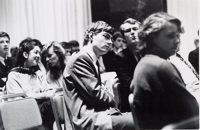 Сессия конгресса Молодёжной организации за свободу и демократию, который проходил в отеле Hilton. Роттердам, 1984 год.