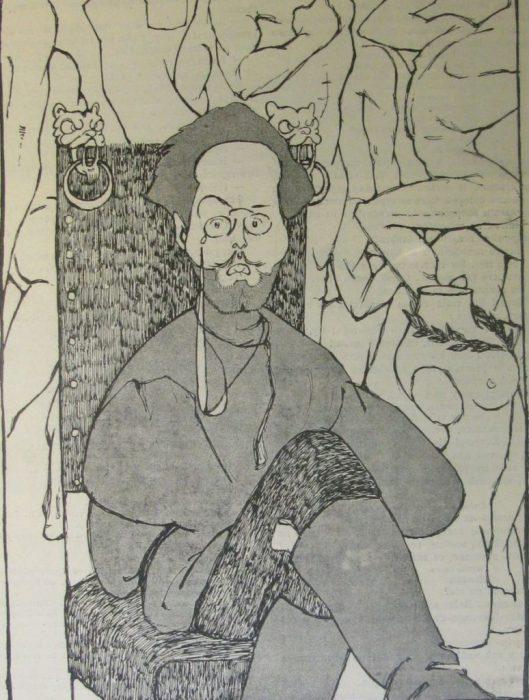 Карикатура на русского писателя и драматурга.
