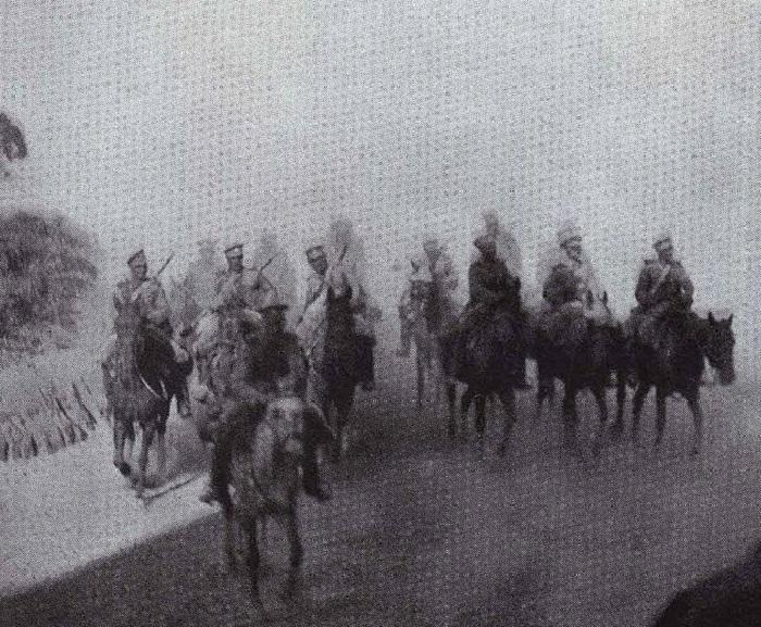 Разведка русской кавалерии под Мукденом в 1905 году.