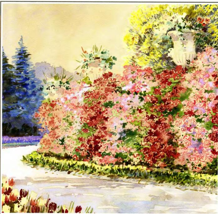 Уголок парка в имении Ливадия. Автор картины: Nikolai Petrovich Krasnov.