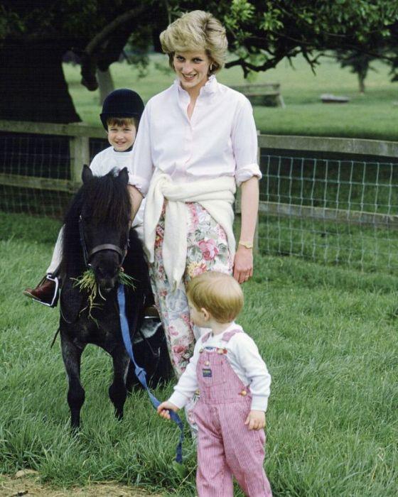 Принц Уильям сидит верхом на пони, в то время как его младший брат тянет поводья.