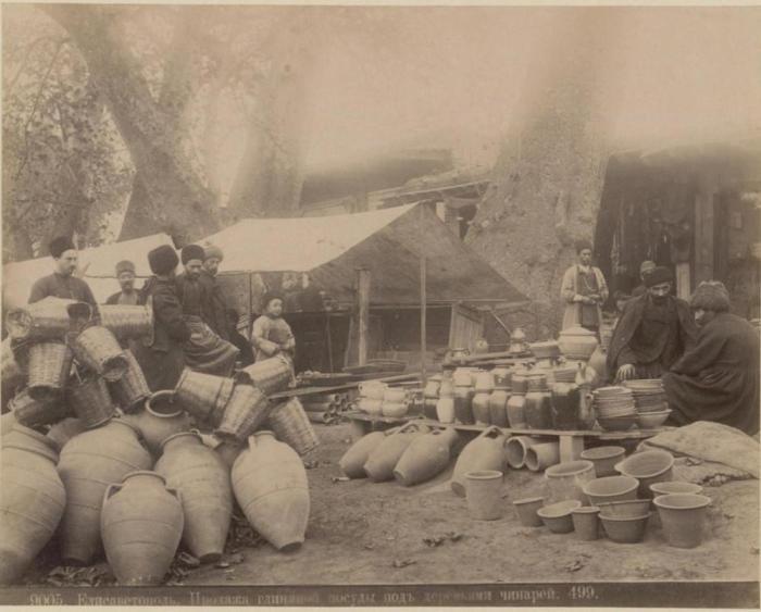 Продажа глиняной посуды.