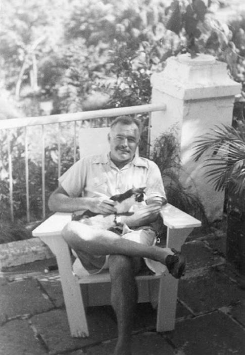 Эрнест Хемингуэй со своей любимой кошкой Бойсе на Финка Вихия.