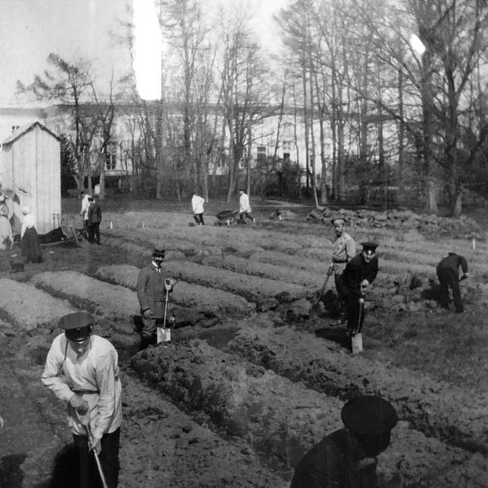 Пьер Жильяр и император Николай II в парке на огородах.