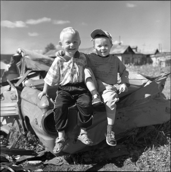 Два закадычных друга. СССР, Красноярск, 1970-е годы.