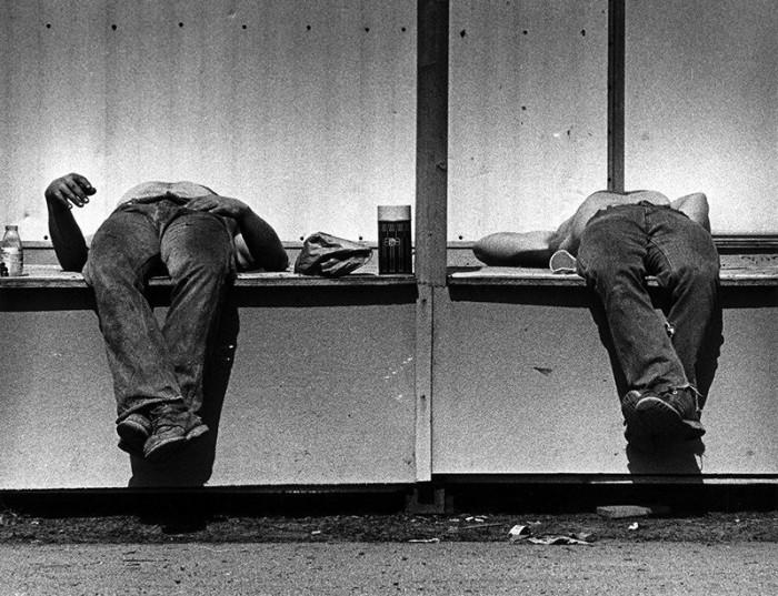 Отдых на строительной площадке. США, Лоуэлл, 1978 год.