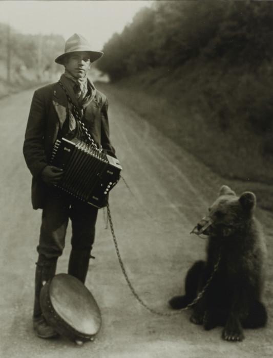 Цыган с дрессированным медведем в районе Вестервальд. Германия, 1929 год.