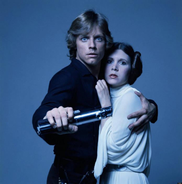 Марк Хэмилл и Кэрри Фишер. «Звёздные войны», 1977 год.