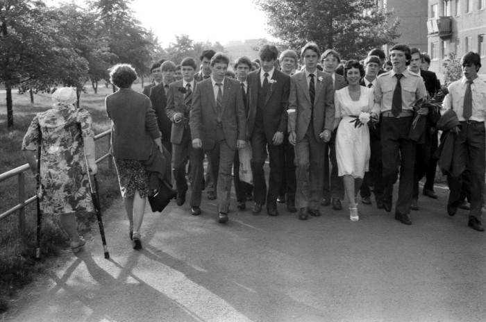 Выпускники школы. СССР, Новокузнецк, 1980-е годы.