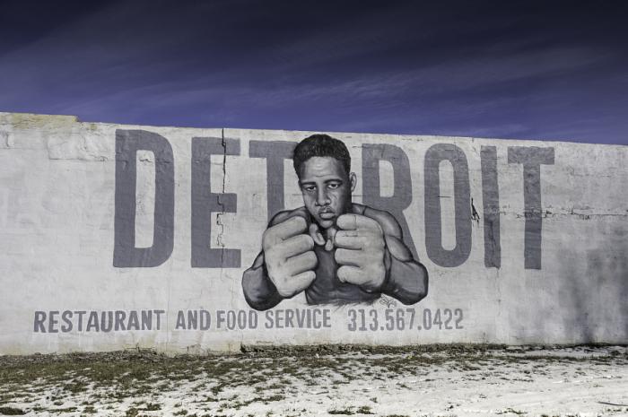 Граффити с легендарным боксёром Джо Луисом.  Автор фотографии: Джозеф Херун.