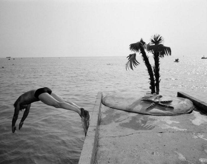 Прыжок в воду «рыбкой». СССР, Сочи, 1988 год.