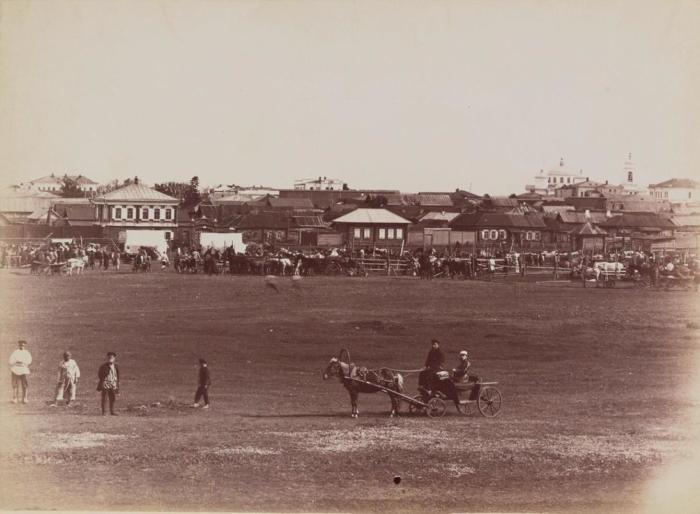 Базар на окраине города. Россия, Курганская слобода, 1895 год.