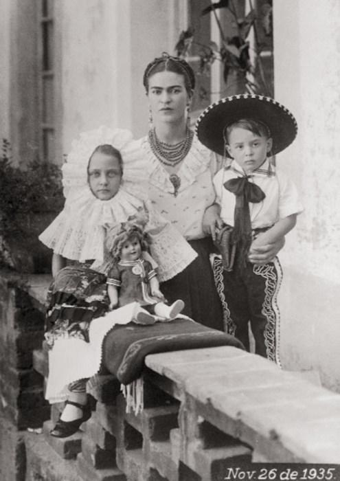 Фрида со своими племянниками Изольдой и Антонио Пинело Кало.