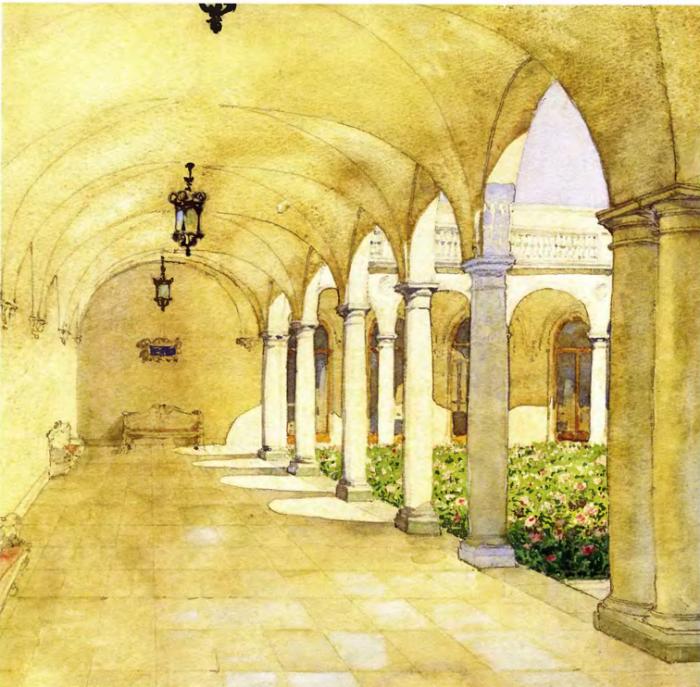 Галерея Итальянского дворика Ливадийского дворца. Автор картины: Nikolai Petrovich Krasnov.