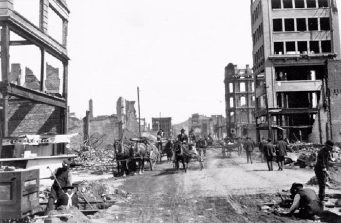 Разрушенный землетрясением Сан-Франциско. США, 1906 год.