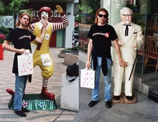 Памятные фотографии Курта Кобейна рядом со статуями Рональда Макдональда и полковника Сандерса.