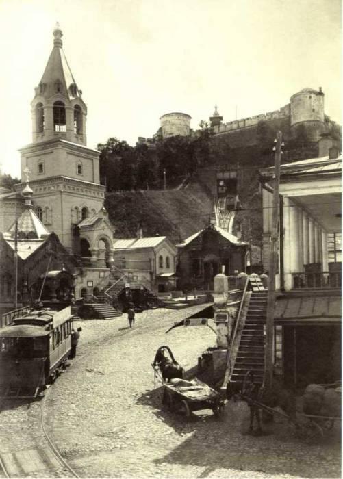 Трамвай у стен Кремля. Россия, Нижний Новгород, 1910-е годы.
