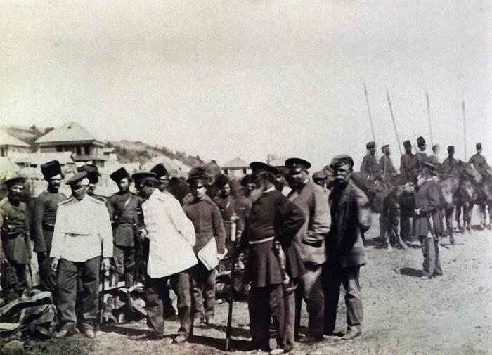Смотр казаков атаманом в сентябре 1876 года.
