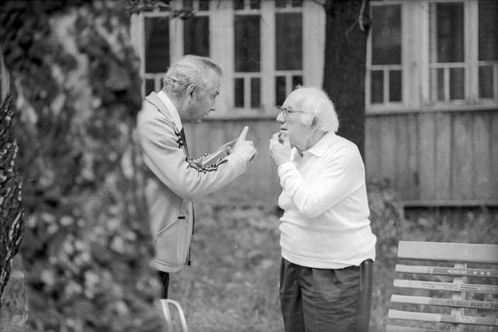 Знаменитый актёр и спортивный обозреватель. СССР, Московская область, 1970-е годы.