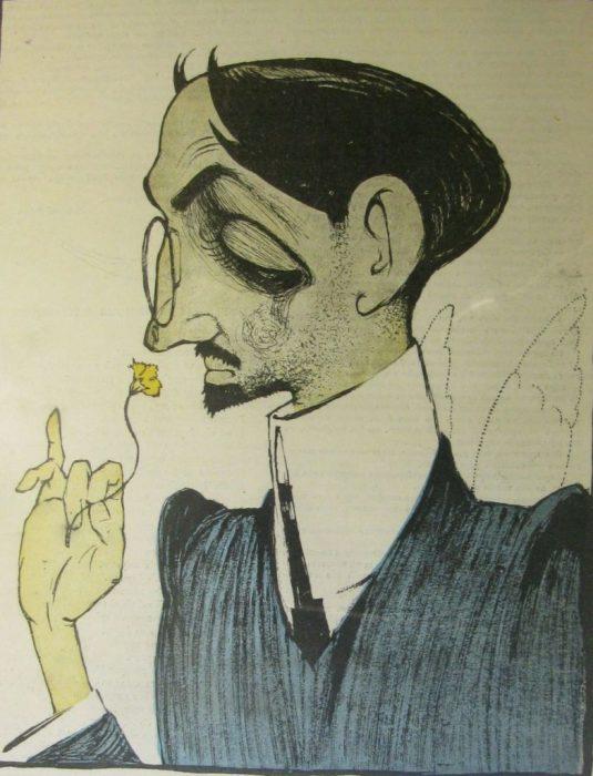 Карикатура на знаменитого поэта и первого мастера свободного стиха.